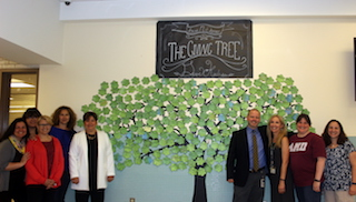 Anne M. Dorner Middle School PTA members, teachers and administrators are proud of the PTA-created Giving Tree wall in the cafeteria that encourages students to tape messages about kindness to the tree.