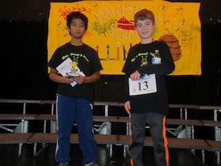 Main Street School's fifth-grade spelling bee winner Shalin Chang (left) and runner-up Wilson Lark.
