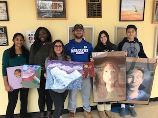 BHS recipients of the Scholastic Art & Writing Awards posed with one of their recent creations (not necessarily the piece that garnered the award) L-R: Farhaanah Mohideen; Oyin Tukuru; Isabel Klein; John Gross; Sophie Jelinek; Colby Cho.