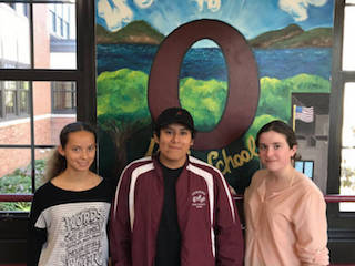 L-R: OHS National Merit Scholarship finalists Skyler Jones, Marlond Criollo and Emma San Martin.