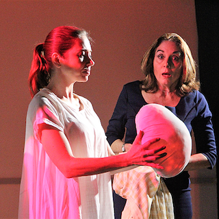 Catherine Banks and Susan Ward in Axial Theatre's Nectar by Katie Baldwin Eng. Photo credit Kala Herh.