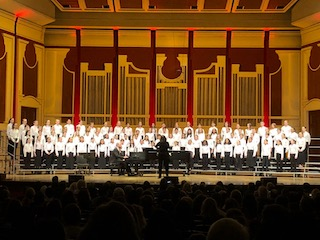 Briarcliff's students on stage at the honor choir performance in Heinz Hall, home to the Pittsburgh Symphony.