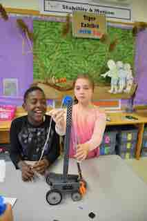 "Irvington Dows Lane Elementary School third-graders Terrence Demanya and Paige Swift built simple and compound machines to ""rescue a tiger"" in their Project Lead the Way class."