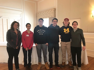 Student Assistance Counselor Jennifer Nunziato and Irvington High School sophomores  Janeeta Shaukat, Josh Hunt, Aidan Daly, Jack Grados and Ben Birkhahn.
