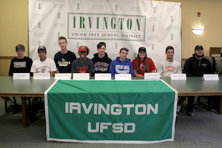 L-R: Chris Brandt, cross country, Swarthmore; Joel Andrade, wrestling, University of Chicago; Jake Weintraub, baseball, George Washington; Brianna Pierre, track & field, Rochester Institute of Technology; Nick Lambiase, lacrosse, Albright; Chris Friedlander, soccer, Seton Hall; Kelly Degnan, basketball, SUNY Plattsburgh; Christian Ishoo, soccer & lacrosse, SUNY Purchase; John Martin, football, Franklin Pierce. Not pictured: Jena Bishop, lacrosse, Guilford College; Zoe Maxwell, soccer, Brown University; Olivia Valdes, lacrosse, Merrimack College.