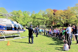 Students learned about the Westchester County Police Aviation Unit from Detective Izzy Lopez and Officer Sean Lonergan.
