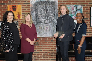 Sleepy Hollow High School student  William Gary is recognized by YoungArts Foundation. L-R: SHHS Guidance Counselor Patricia Bonitatibus; Fine/Media Arts Director Angela Langston; William Gary; SHHS Principal Dr. Tracy Smith.