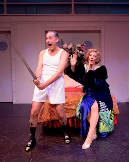 Kevin Pariseau (as Lord Evelyn) and Stacia Fernandez (as Reno Sweeney). Photo by John Vecchiolla
