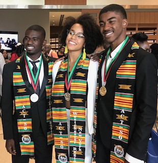 (Left to right) Craig Murray of Mount Vernon (Horace Mann High School); OHS students Brigitte Alberghini-Davis and Kellen Cooks.