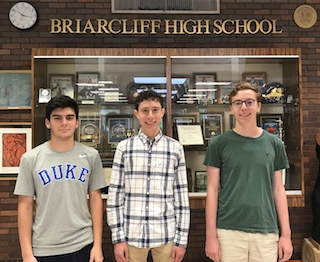 Briarcliff High School seniors and 2019 National Merit Scholarship semifinalists: Noah Benson, Benjamin Cooper and Andrew Van Camp.