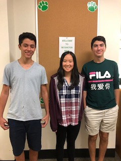 Irvington High School seniors and 2019 National Merit Scholarship semifinalists Ethan Chang, Chrysmine Wong and Braden Donoian.