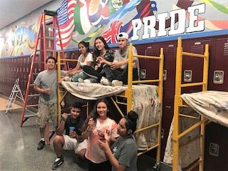 Students helped paint a Pride mural at Ossining High School.