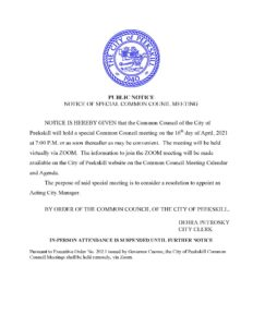 Notice of Special Common Council Meeting to Name Interim City Manager